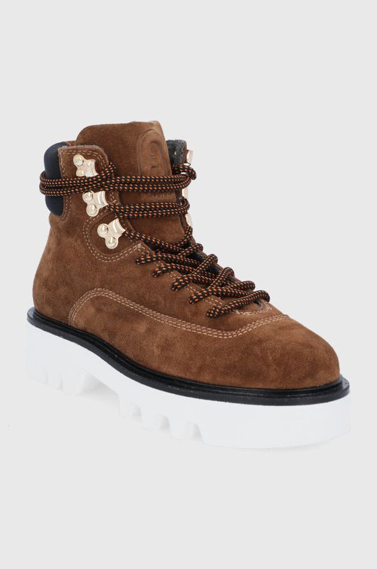 Furla - Workery zamszowe Rita Hiking Boot złoty brąz
