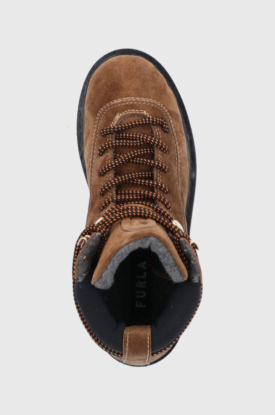 złoty brąz Furla - Workery zamszowe Rita Hiking Boot