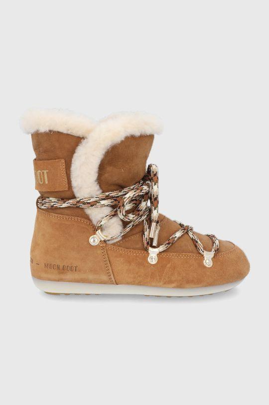 złoty brąz Moon Boot - Śniegowce zamszowe Side High Shearling Damski