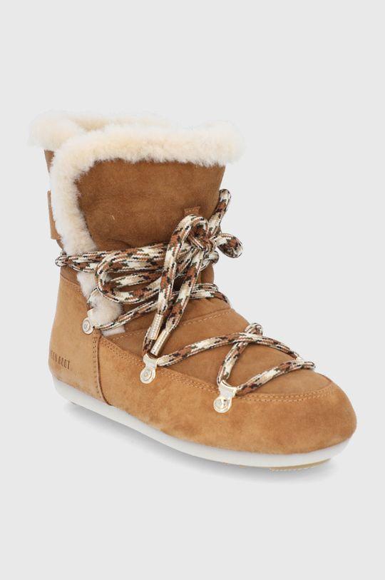 Moon Boot - Śniegowce zamszowe Side High Shearling złoty brąz