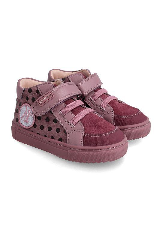 purpurowy Garvalin - Półbuty skórzane dziecięce Dziewczęcy