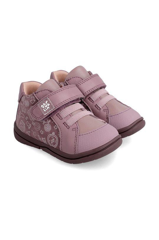 różowy Garvalin - Półbuty skórzane dziecięce Dziewczęcy