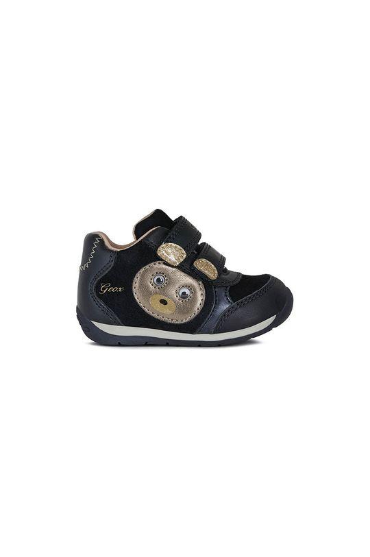 σκούρο μπλε Geox - Παιδικά δερμάτινα παπούτσια Για κορίτσια