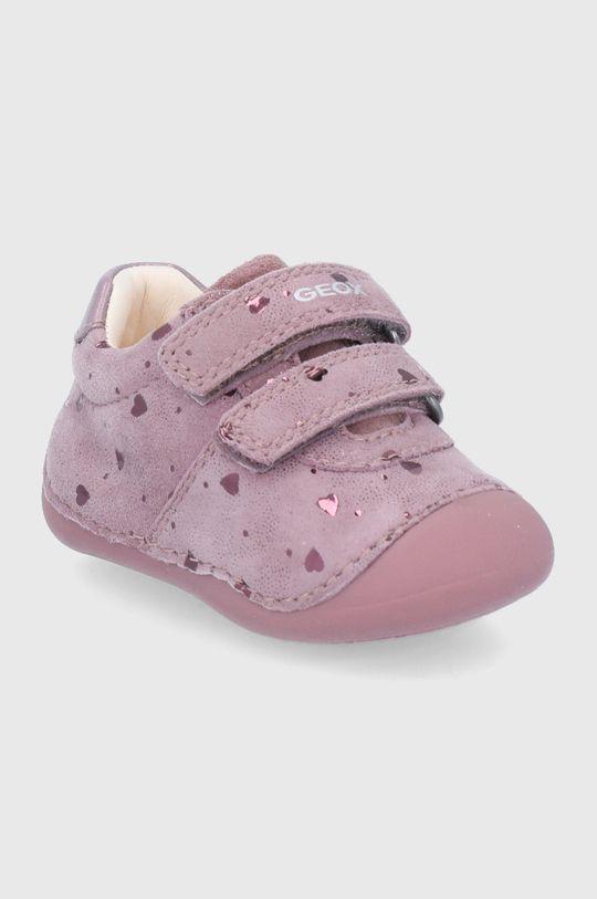 Geox - Detské kožené poltopánky ružová