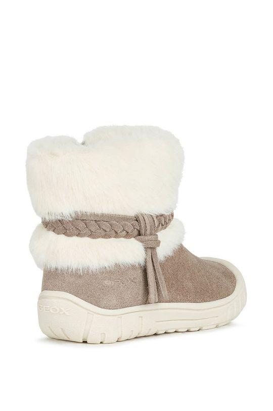 kawowy Geox - Śniegowce zamszowe dziecięce