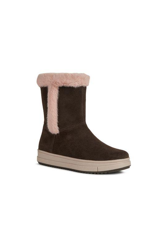 Geox - Pantofi din piele intoarsa pentru copii castan