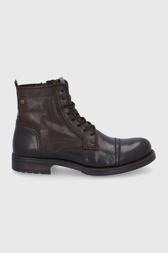hnědá Jack & Jones - Kožené boty Pánský