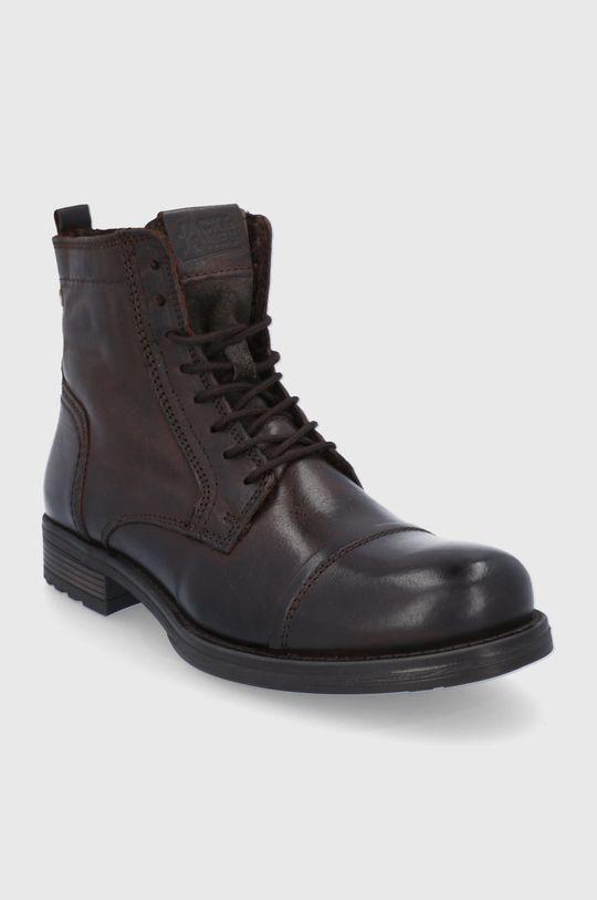 Jack & Jones - Kožené boty hnědá