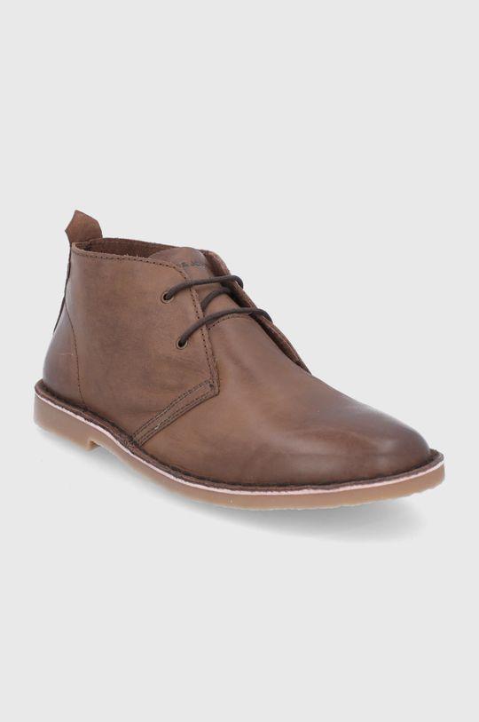Jack & Jones - Buty skórzane brązowy