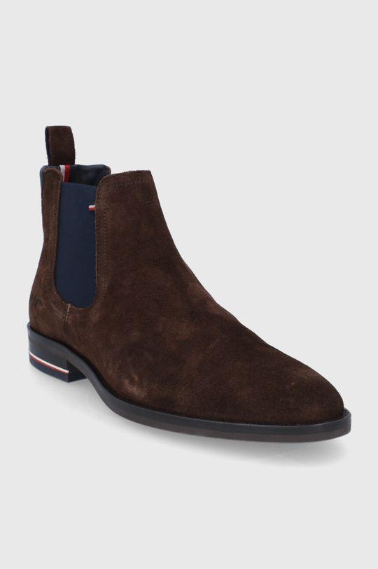 Tommy Hilfiger - Semišové kotníkové boty hnědá