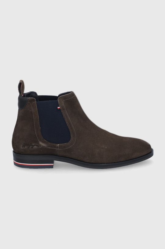 cihlová Tommy Hilfiger - Semišové kotníkové boty Pánský