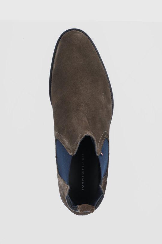 cihlová Tommy Hilfiger - Semišové kotníkové boty