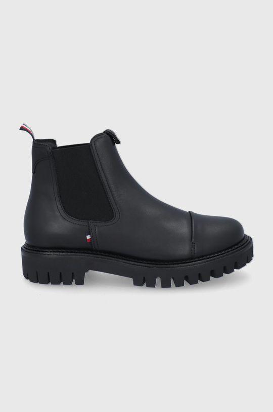 černá Tommy Hilfiger - Kožené kotníkové boty Pánský