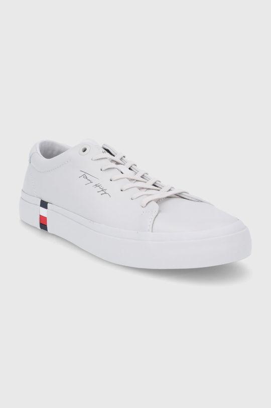 Tommy Hilfiger - Kožené boty světle šedá