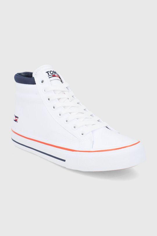 Tommy Jeans - Buty skórzane biały