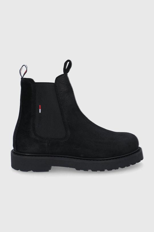 černá Tommy Jeans - Semišové kotníkové boty Pánský