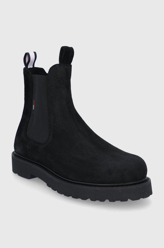 Tommy Jeans - Semišové kotníkové boty černá