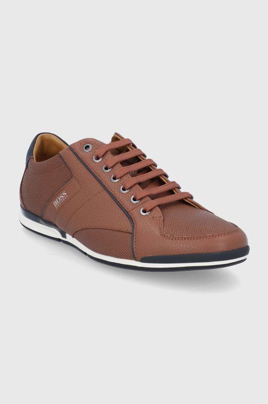 Boss - Buty skórzane brązowy