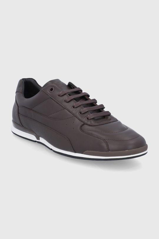 Boss - Buty skórzane ciemny brązowy