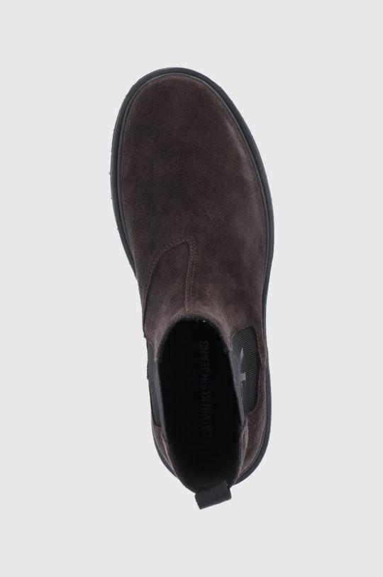 ciemny brązowy Calvin Klein Jeans - Sztyblety zamszowe