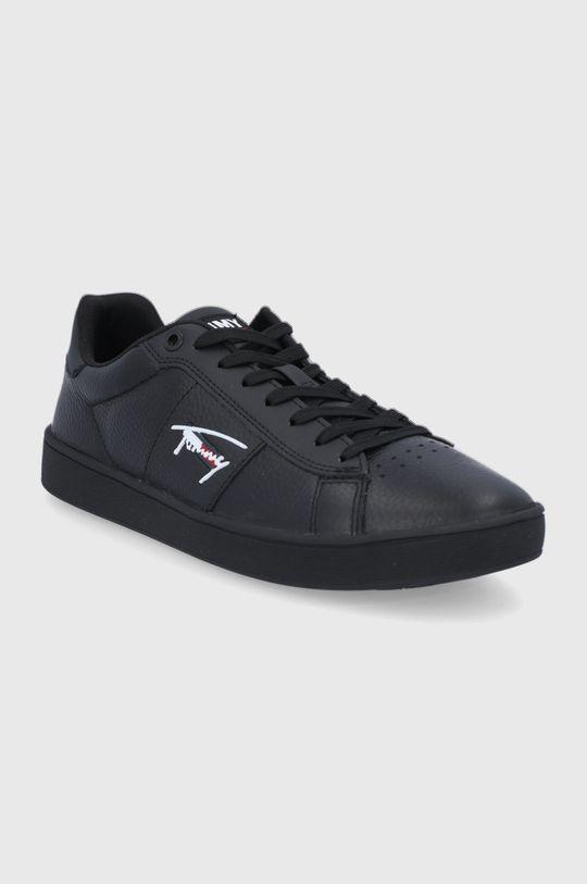 Tommy Jeans - Buty skórzane czarny