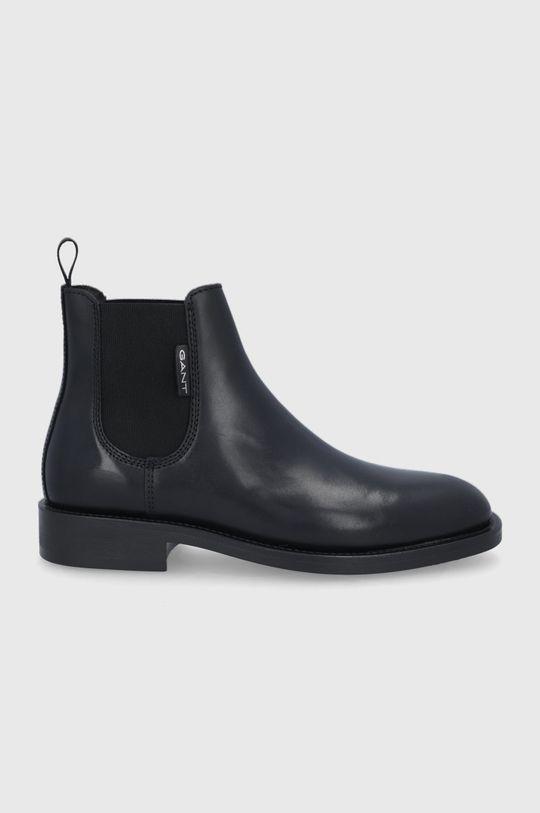 černá Gant - Kožené kotníkové boty Brockwill Pánský