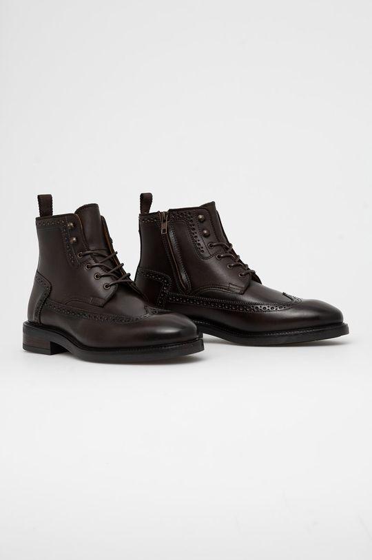 Gant - Buty skórzane Flairville ciemny brązowy