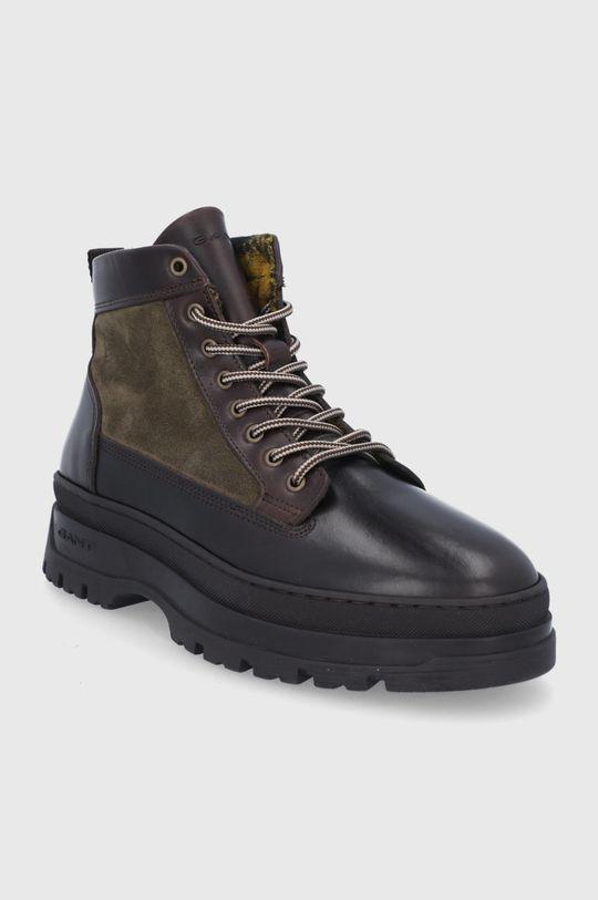 Gant - Kožená obuv St Grip hnedo zelená
