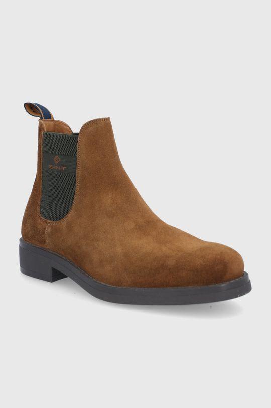 Gant - Sztyblety skórzane Brookly brązowy