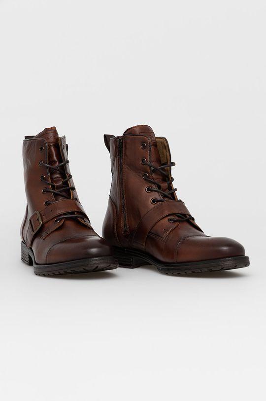 Aldo - Kožené boty Merad hnědá