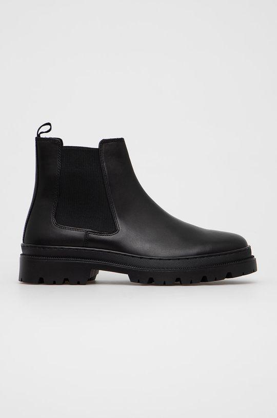 černá Aldo - Kožené kotníkové boty Alencia Pánský