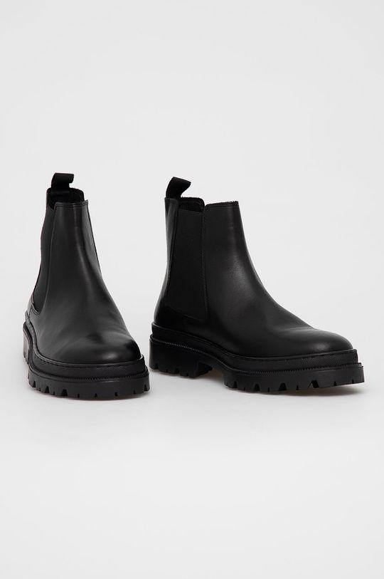 Aldo - Kožené kotníkové boty Alencia černá