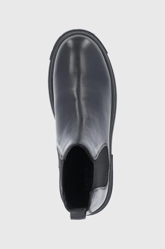 černá Levi's - Kožené kotníkové boty