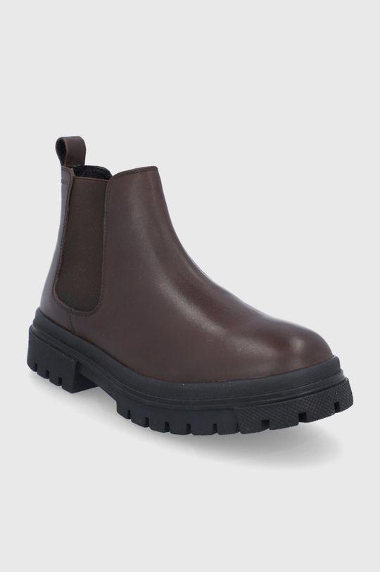 Levi's - Kožené kotníkové boty hnědá
