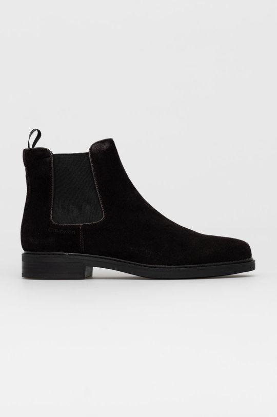 hnědá Calvin Klein - Semišové kotníkové boty Pánský