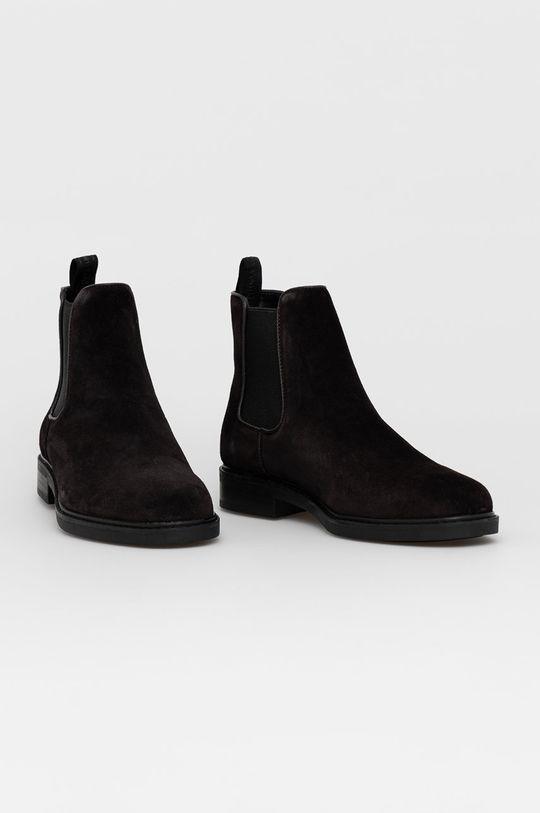 Calvin Klein - Semišové kotníkové boty hnědá