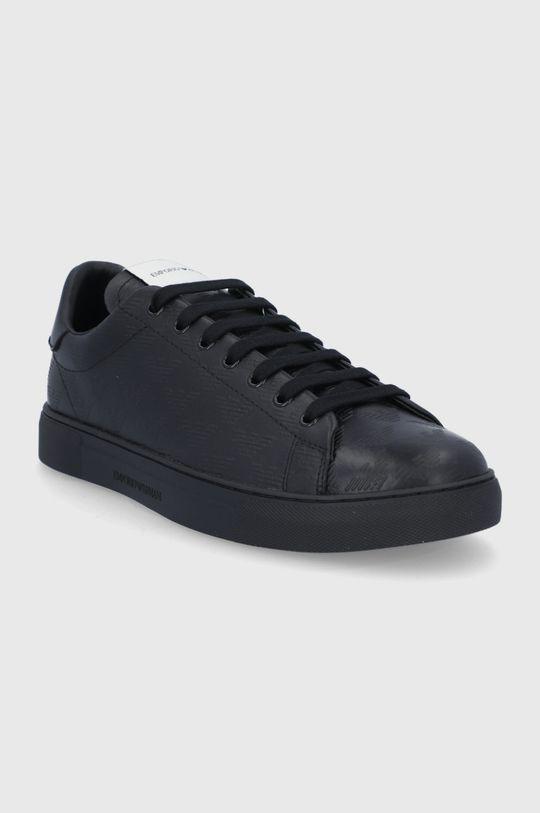 Emporio Armani - Buty skórzane czarny