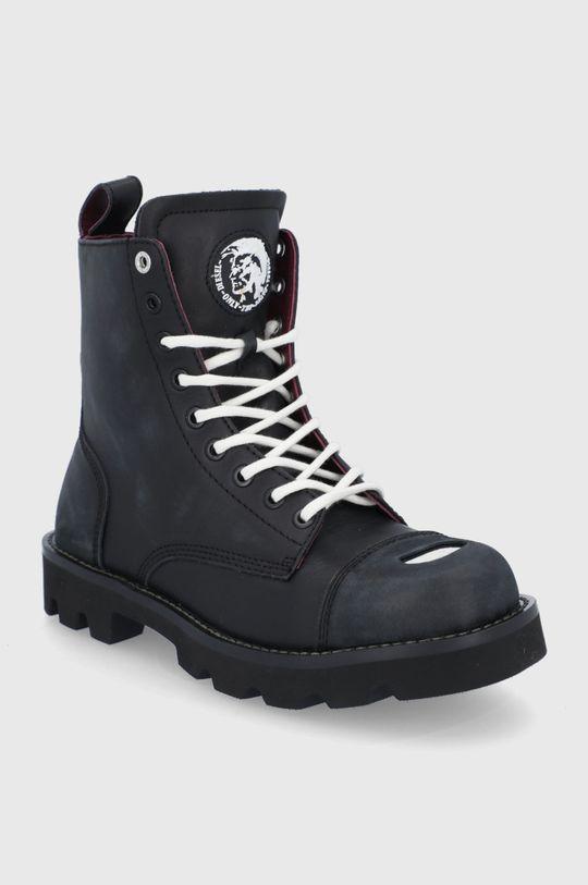 Diesel - Kožené boty černá