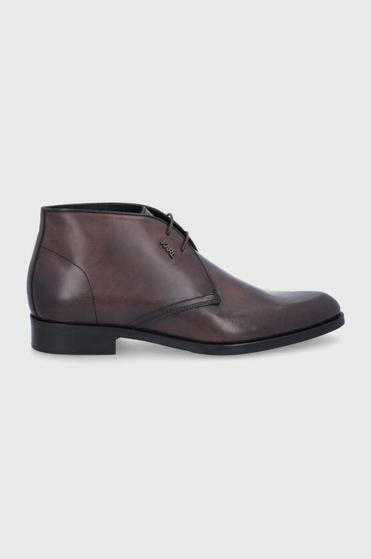 ciemny brązowy Karl Lagerfeld - Buty skórzane Męski