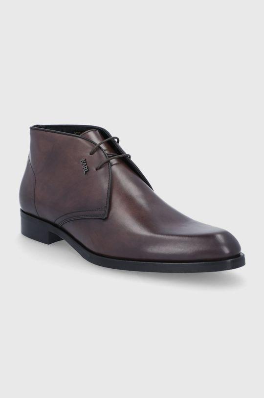 Karl Lagerfeld - Buty skórzane ciemny brązowy