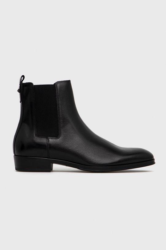 czarny Karl Lagerfeld - Sztyblety skórzane Męski