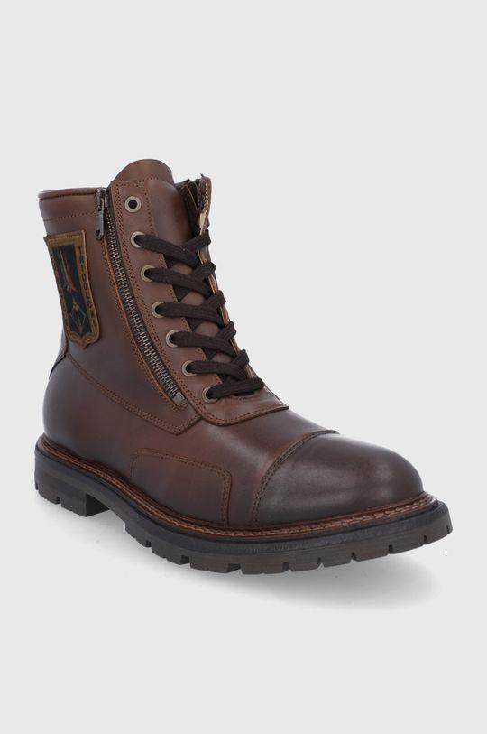 Aeronautica Militare - Buty skórzane brązowy
