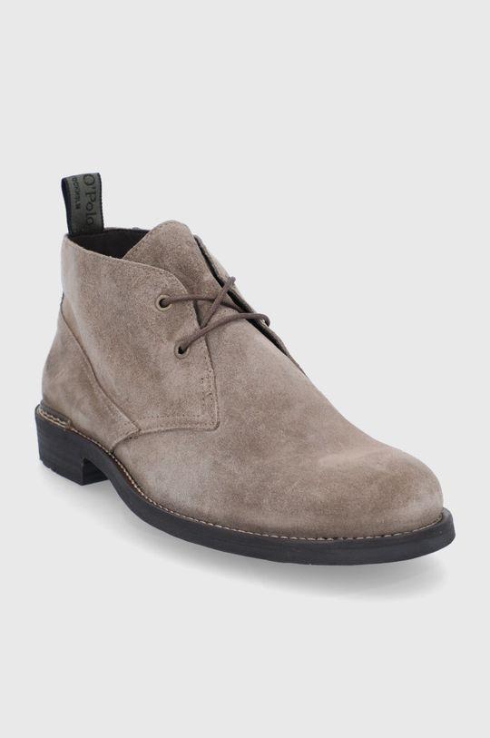 Marc O'Polo - Semišové boty béžová