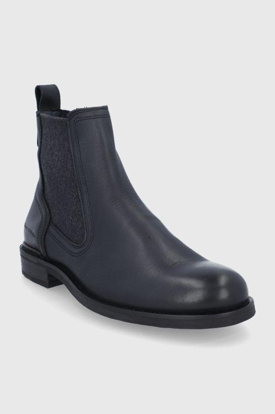 Marc O'Polo - Kožené kotníkové boty černá