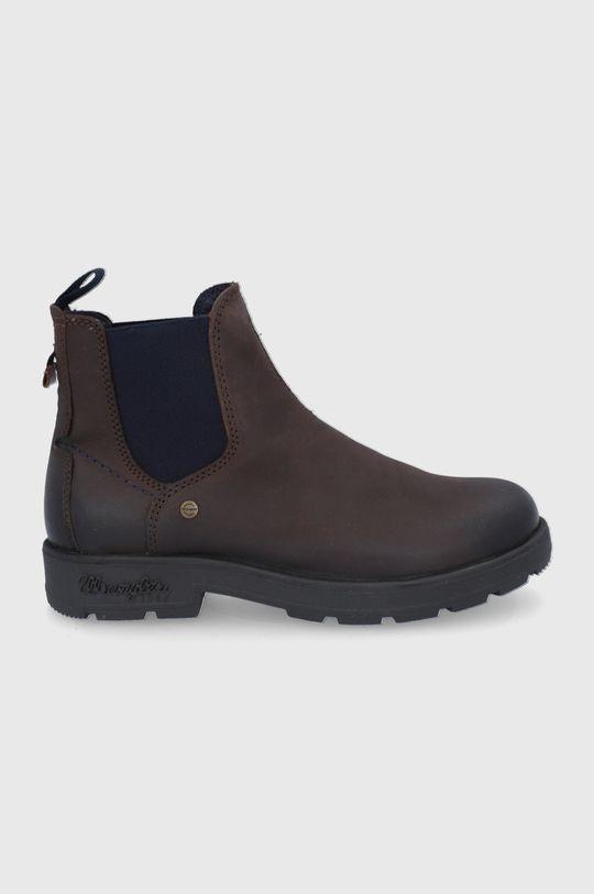hnědá Wrangler - Kožené kotníkové boty Pánský