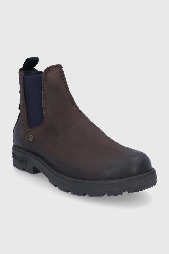 Wrangler - Kožené kotníkové boty hnědá