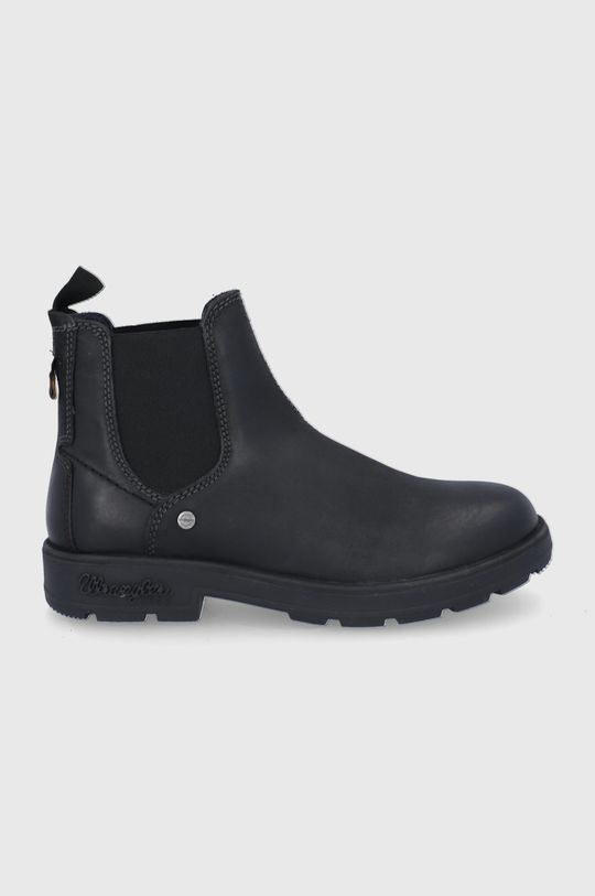 černá Wrangler - Kožené kotníkové boty Pánský
