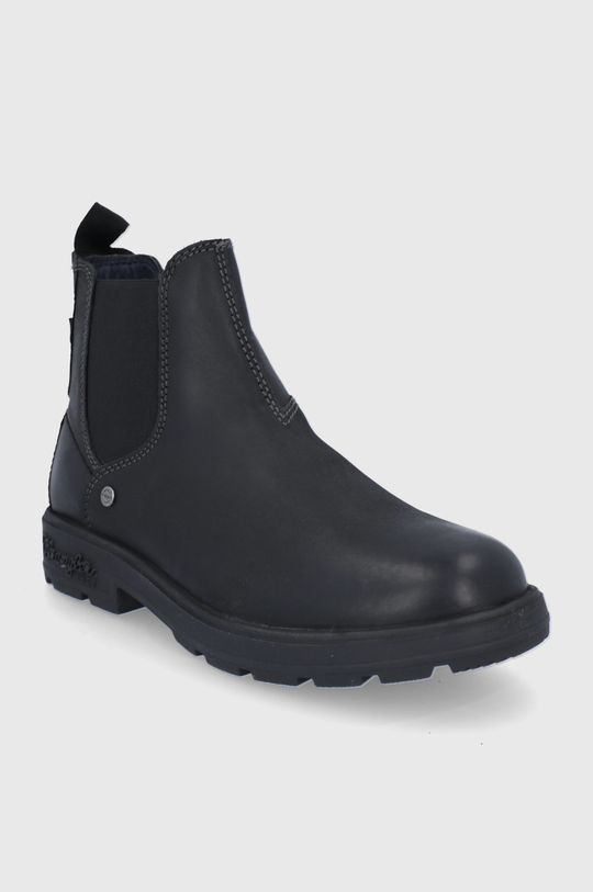 Wrangler - Kožené kotníkové boty černá