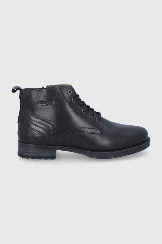 černá Wrangler - Kožené boty Pánský