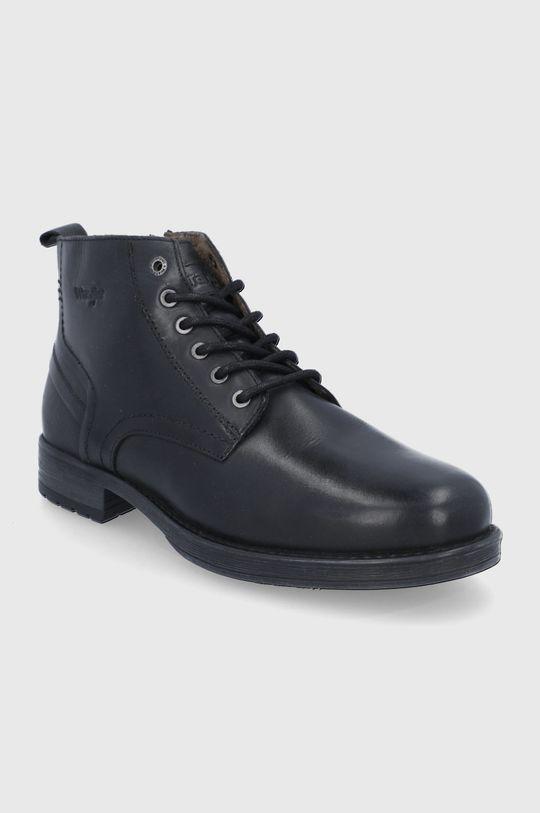 Wrangler - Kožené boty černá
